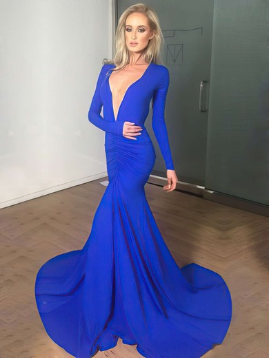 Trumpet/Mermaid V-neck Court Train Jersey Prom Dresses with Ruffle #Favs020102179
