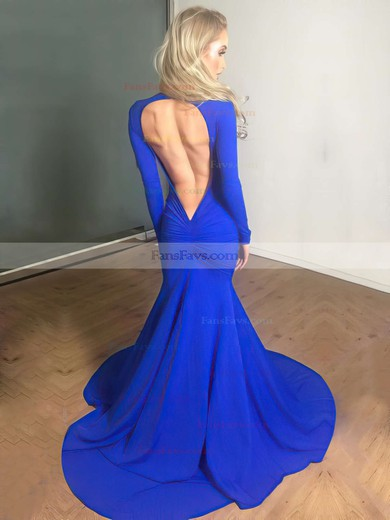 Trumpet/Mermaid V-neck Jersey Court Train Ruffles Prom Dresses #Favs020102179
