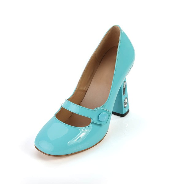 Women's Blue Patent Leather Closed Toe with Rhinestone