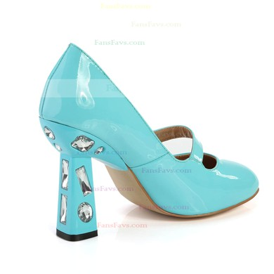 Women's Blue Patent Leather Closed Toe with Rhinestone #Favs03030367