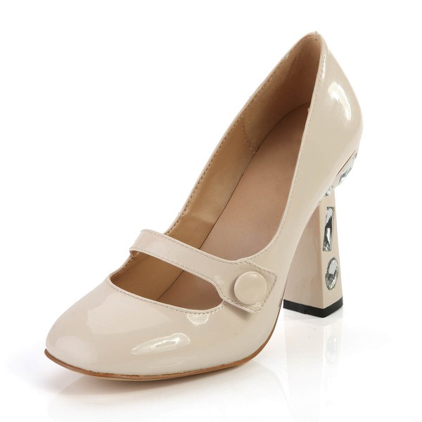 Women's  Patent Leather Closed Toe with Rhinestone #Favs03030368
