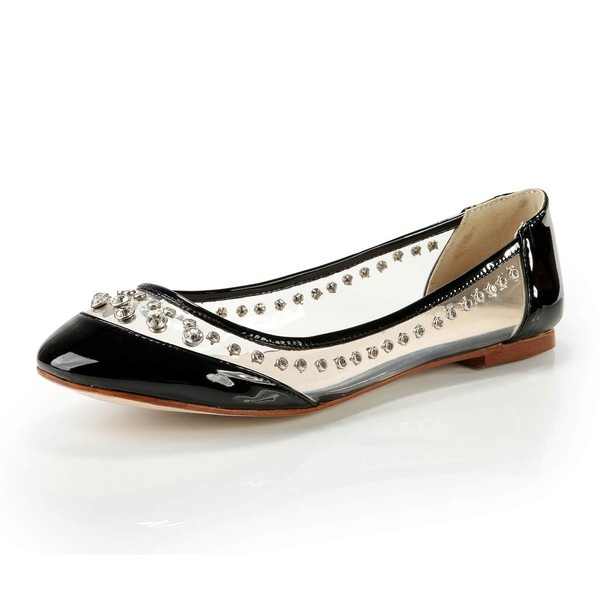 Women's Black Patent Leather Closed Toe with Rhinestone #Favs03030369