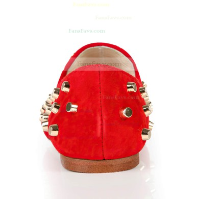 Women's Red Suede Closed Toe with Rivet #Favs03030372