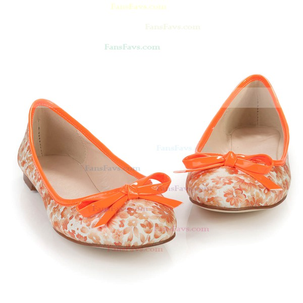 Women's Orange Cloth Closed Toe with Bowknot