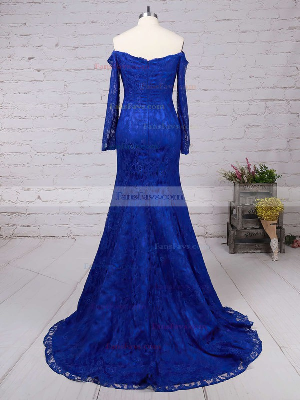 Trumpet/Mermaid Off-the-shoulder Lace Sweep Train Prom Dresses #Favs020102214