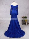 Trumpet/Mermaid Off-the-shoulder Sweep Train Lace Prom Dresses with Ruffle #Favs020102214