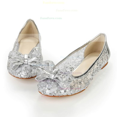 Women's Silver Real Leather Flats with Bowknot/Sequin #Favs03030383