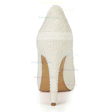 Women's Ivory Patent Leather Pumps with Rhinestone/Pearl #Favs03030398