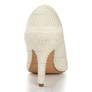 Women's Ivory Patent Leather Pumps with Rhinestone/Pearl #Favs03030441