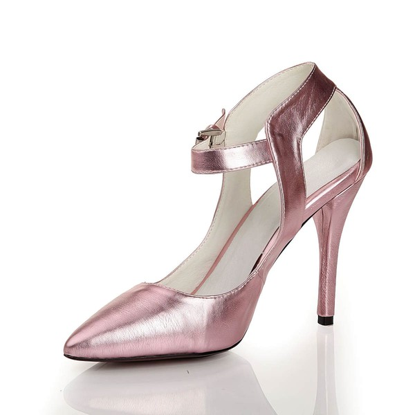 Women's Pink Real Leather Pumps with Buckle #Favs03030445