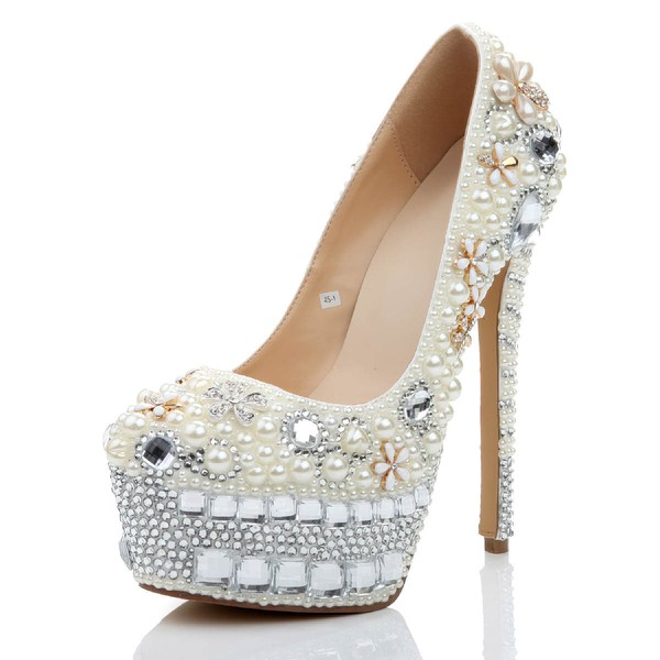 Women's White Patent Leather Pumps with Crystal/Crystal Heel/Pearl #Favs03030473