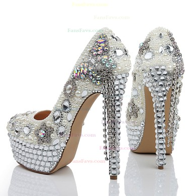 Women's White Patent Leather Platform with Crystal/Crystal Heel/Tassel #Favs03030474