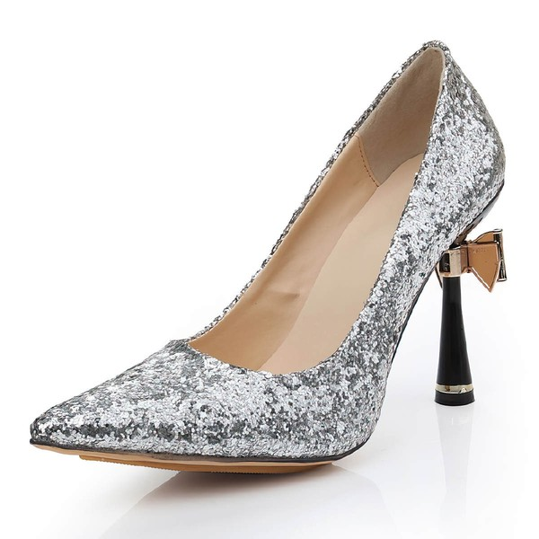 Women's Silver Sparkling Glitter Pumps with Bowknot/Sparkling Glitter #Favs03030477