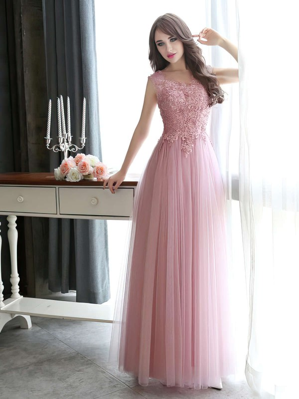 A-line Scoop Neck Floor-length Tulle Prom Dresses with Appliques Lace #Favs020102317