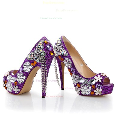 Women's Purple Patent Leather Pumps with Crystal/Crystal Heel/Tassel #Favs03030479