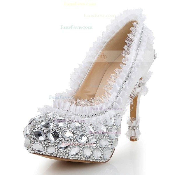Women's White Satin Pumps with Rhinestone/Stitching Lace