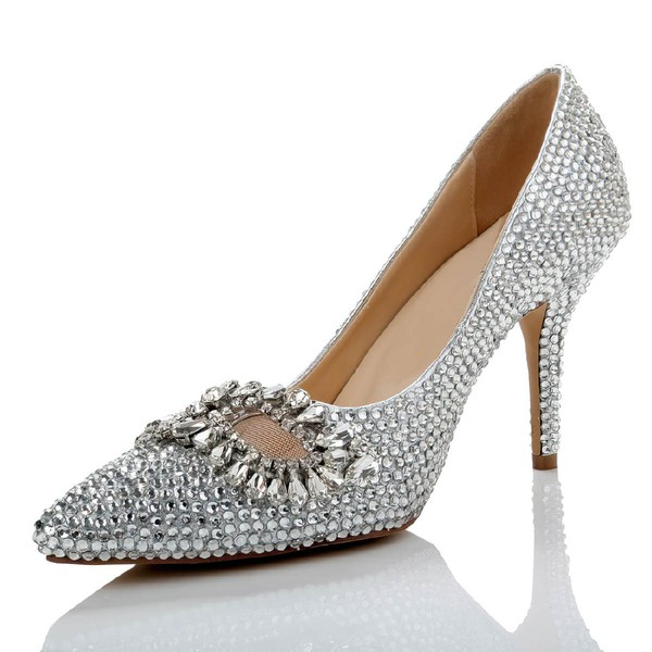 Women's Silver Real Leather Pumps with Crystal/Crystal Heel #Favs03030487