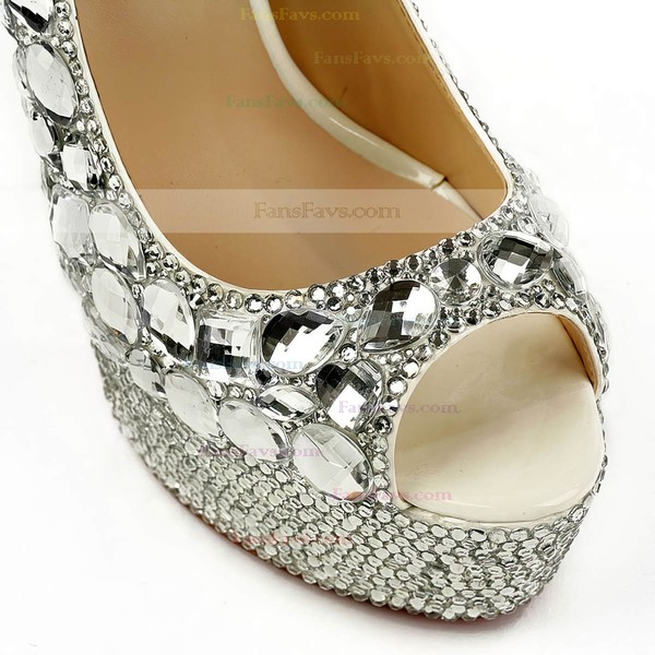 Women's Silver Patent Leather Pumps with Crystal/Crystal Heel