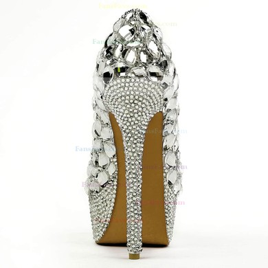 Women's Silver Patent Leather Pumps with Crystal/Crystal Heel #Favs03030494