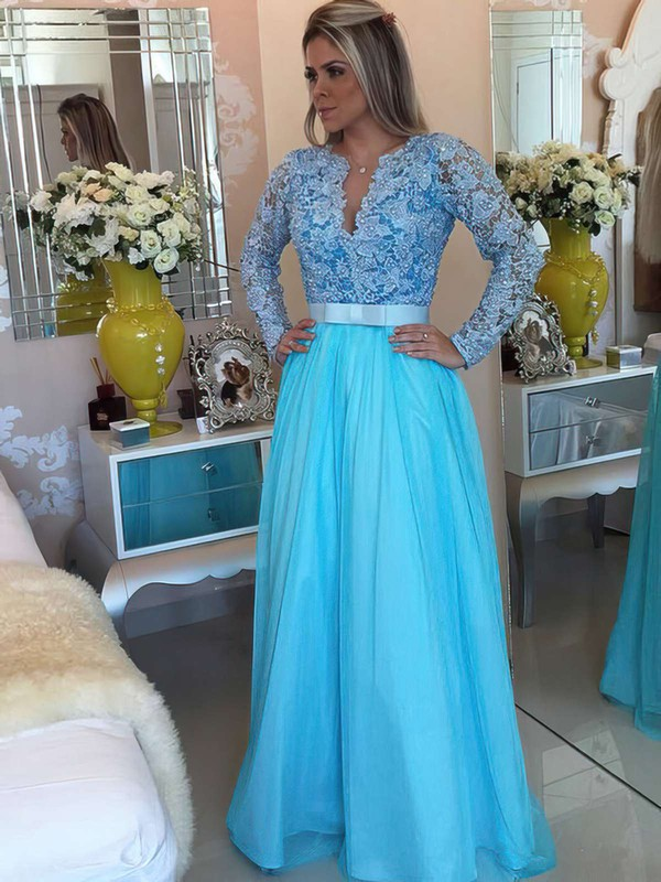 A-line V-neck Floor-length Tulle Prom Dresses with Appliques Lace Sashes #Favs020102323