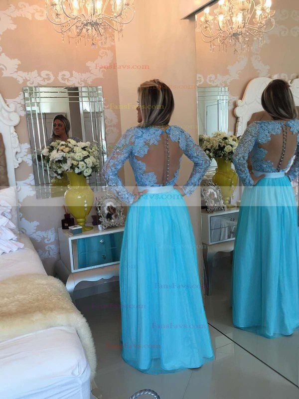 A-line V-neck Lace Chiffon Floor-length Sashes / Ribbons Prom Dresses #Favs020102323