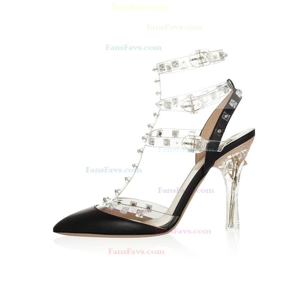 Women's Black Real Leather Pumps with Buckle