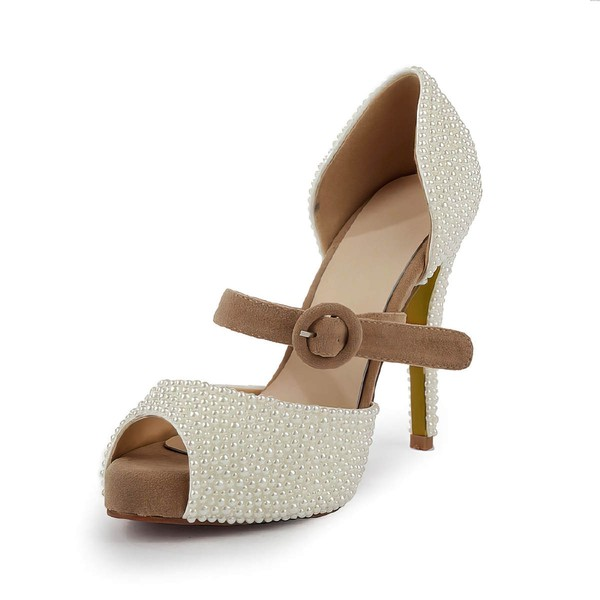 Women's Ivory Suede Pumps with Buckle/Imitation Pearl #Favs03030499