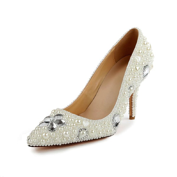 Women's Ivory Patent Leather Pumps with Rhinestone/Imitation Pearl