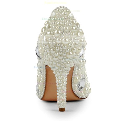 Women's Ivory Patent Leather Pumps with Rhinestone/Imitation Pearl #Favs03030501