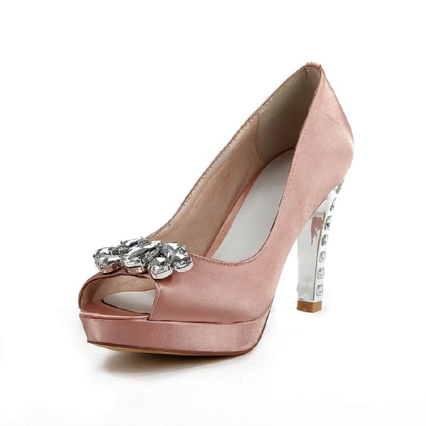 Women's Pink Satin Pumps with Rhinestone #Favs03030502
