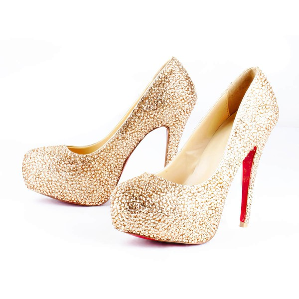 Women's  Sparkling Glitter Pumps with Crystal/Crystal Heel