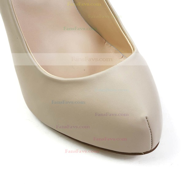 Women's Khaki Real Leather Pumps