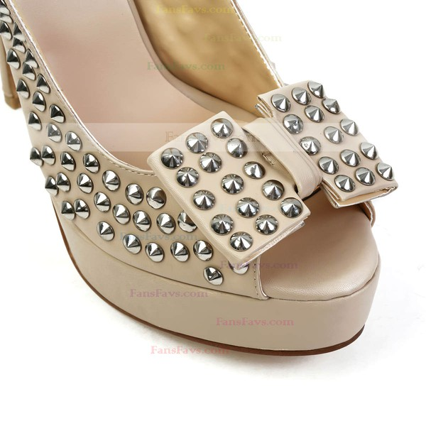 Women's Khaki Real Leather Pumps with Bowknot/Rivet