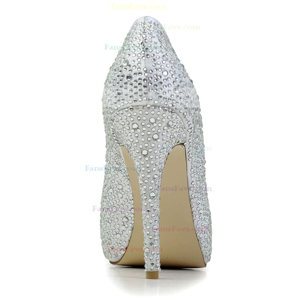 Women's Silver Satin Pumps with Crystal/Crystal Heel