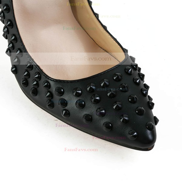 Women's Black Real Leather Pumps with Rivet