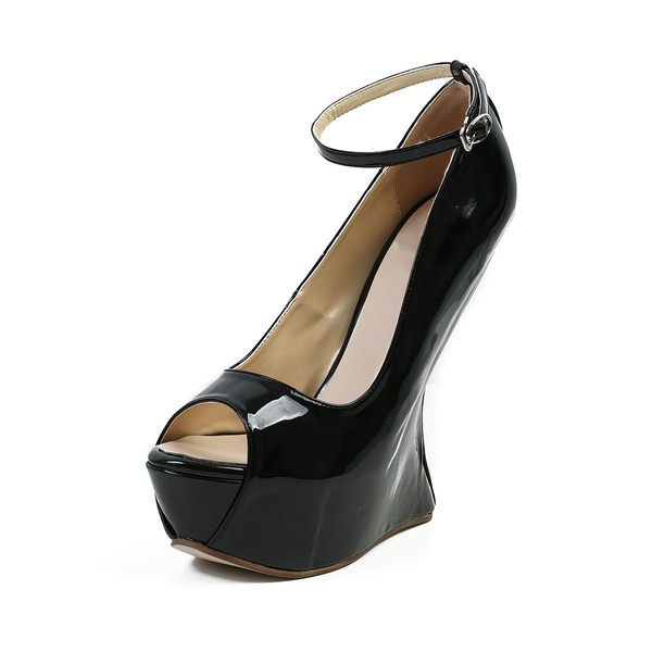 Women's Black Patent Leather Peep Toe with Buckle #Favs03030589
