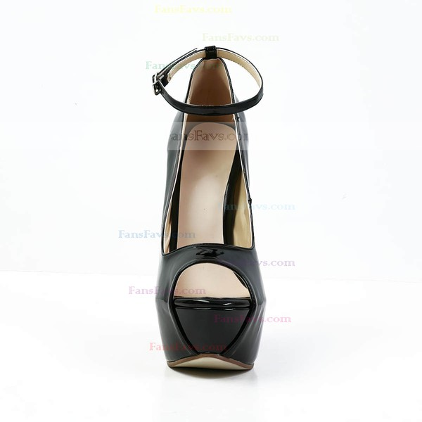 Women's Black Patent Leather Peep Toe with Buckle