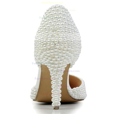 Women's White Patent Leather Pumps with Imitation Pearl #Favs03030590