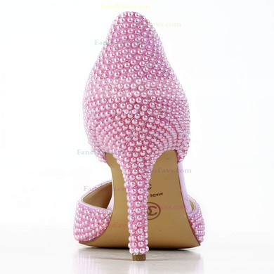 Women's Pink Patent Leather Pumps with Imitation Pearl #Favs03030591
