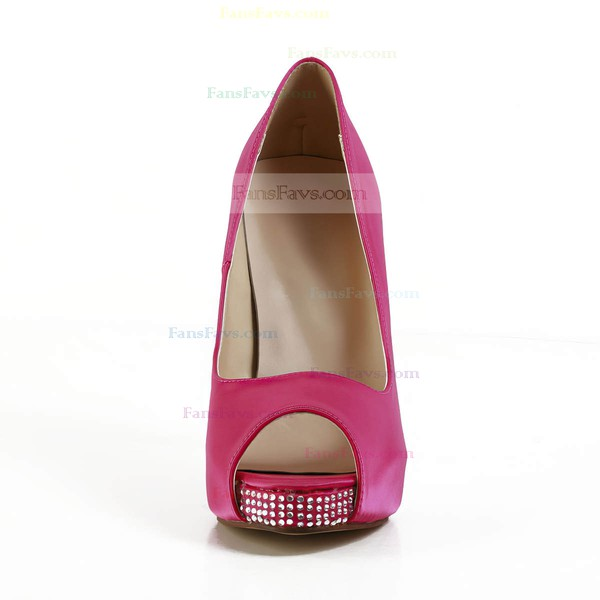 Women's Fuchsia Silk Pumps with Crystal/Crystal Heel