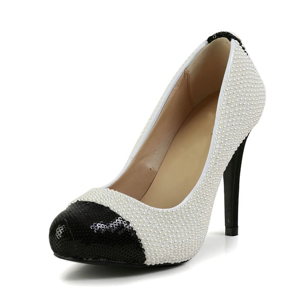Women's Multi-color Patent Leather Pumps with Sequin/Pearl #Favs03030597