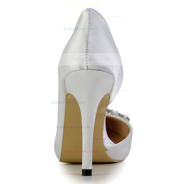 Women's White Silk Pumps with Crystal
