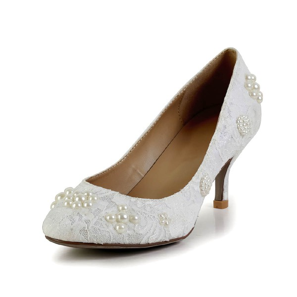 Women's White Lace Pumps with Pearl #Favs03030603