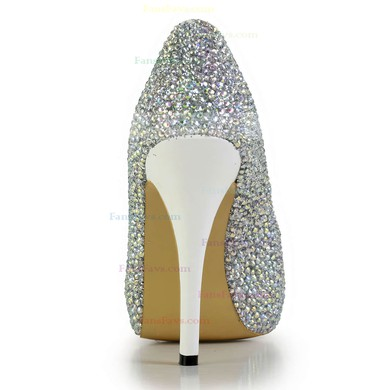 Women's Silver Real Leather Pumps with Crystal #Favs03030604
