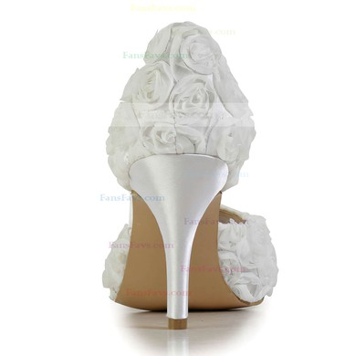 Women's White Satin Pumps with Flower #Favs03030605