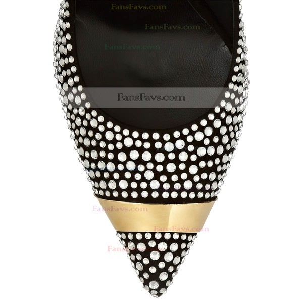 Women's Black Suede Pumps with Crystal