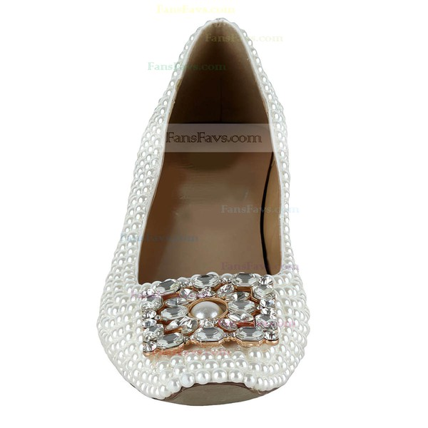 Women's White Patent Leather Pumps with Crystal/Pearl