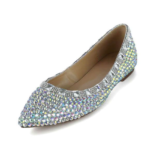 Women's Multi-color Patent Leather Flats with Crystal #Favs03030618