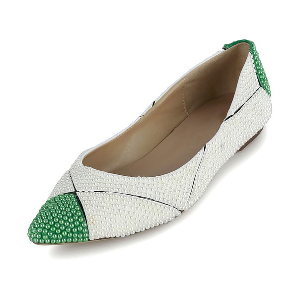 Women's White Patent Leather Flats with Imitation Pearl #Favs03030619