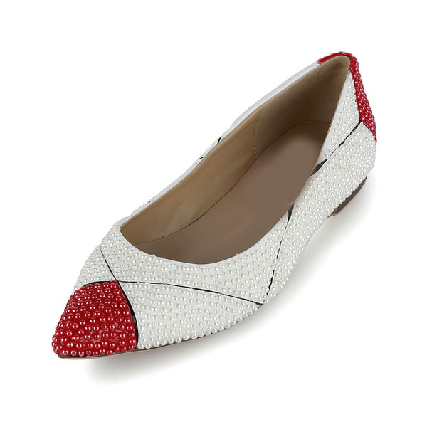 Women's White Patent Leather Flats with Imitation Pearl #Favs03030620